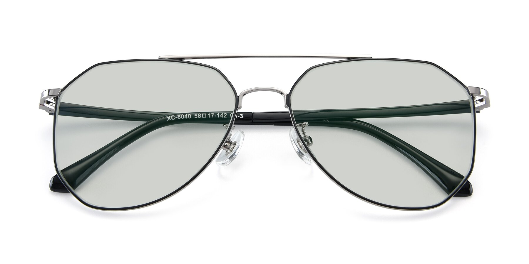 Folded Front of XC-8040 in Black/ Gun with Light Green Tinted Lenses