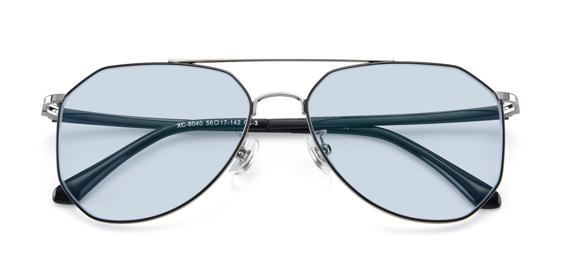 Folded Front of XC-8040 in Black/ Gun with Light Blue Tinted Lenses