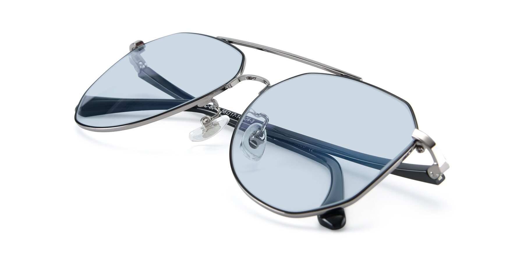 View of XC-8040 in Black/ Gun with Light Blue Tinted Lenses