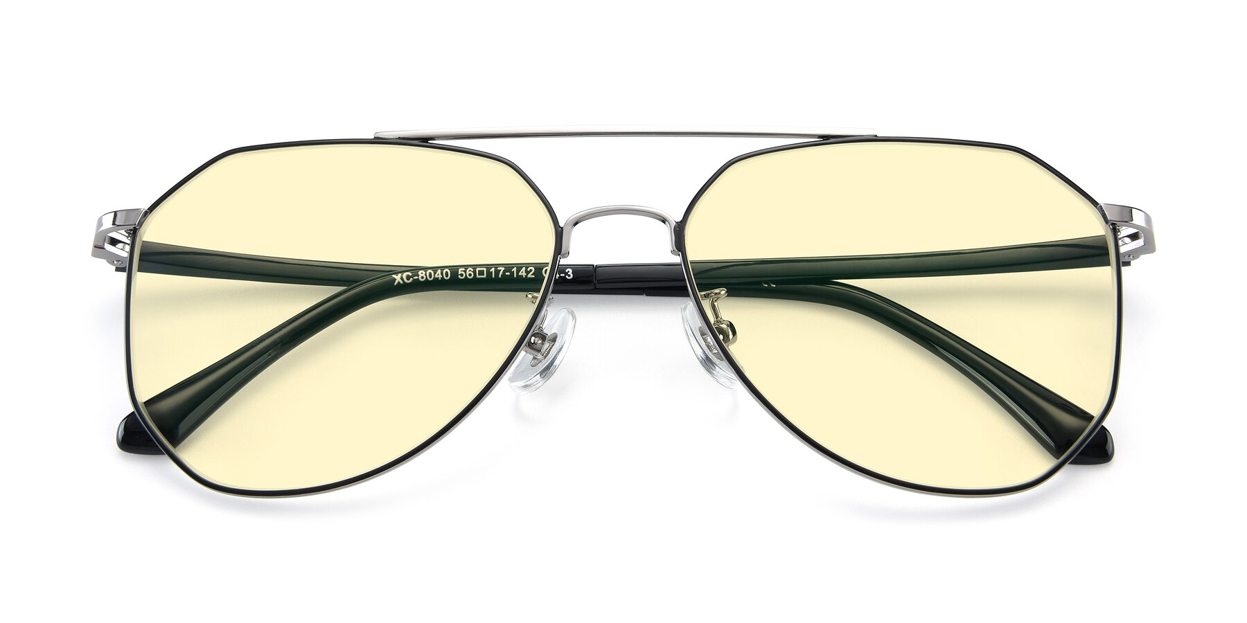 Folded Front of XC-8040 in Black/ Gun with Light Yellow Tinted Lenses