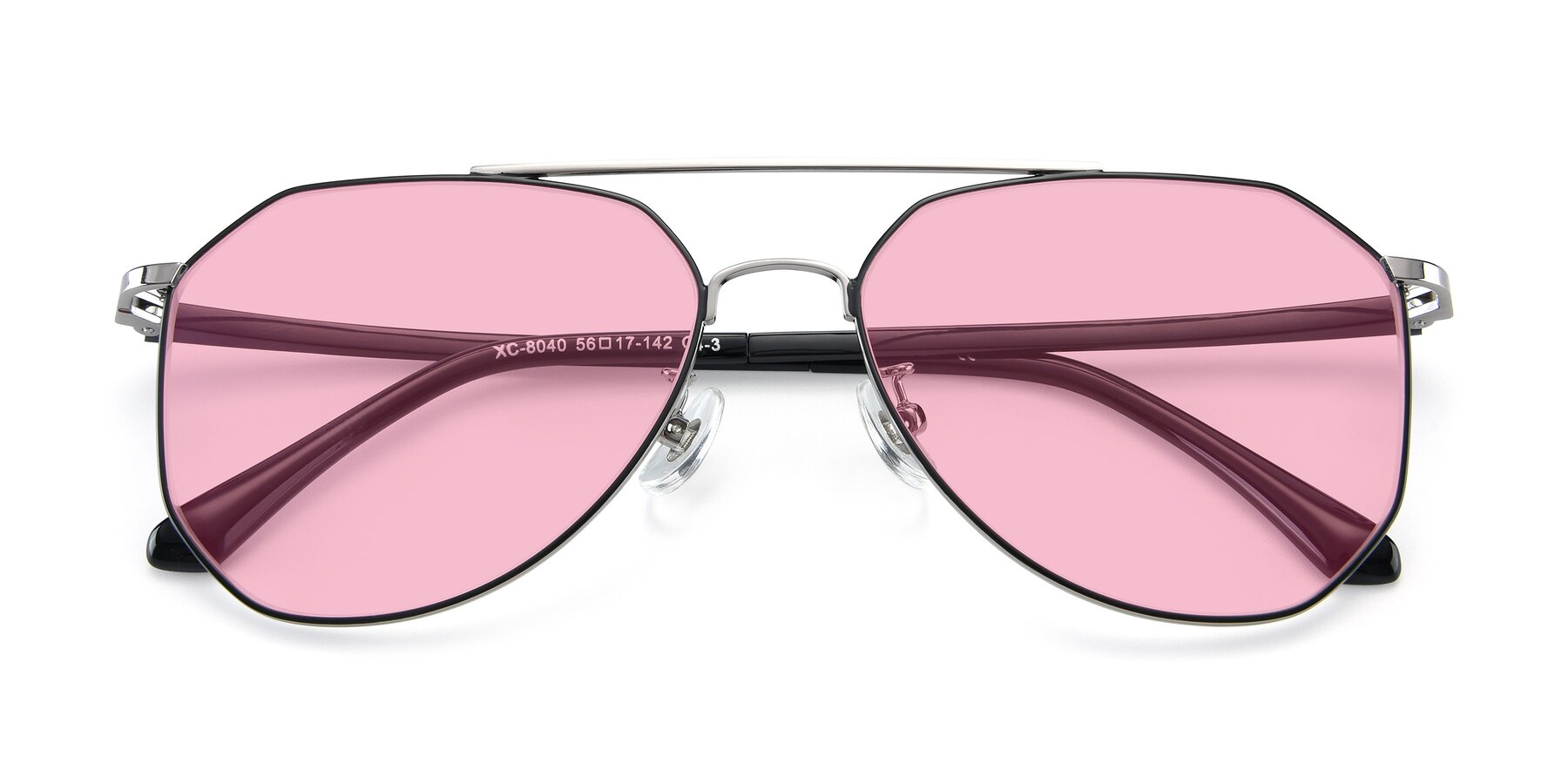 Folded Front of XC-8040 in Black/ Gun with Medium Pink Tinted Lenses