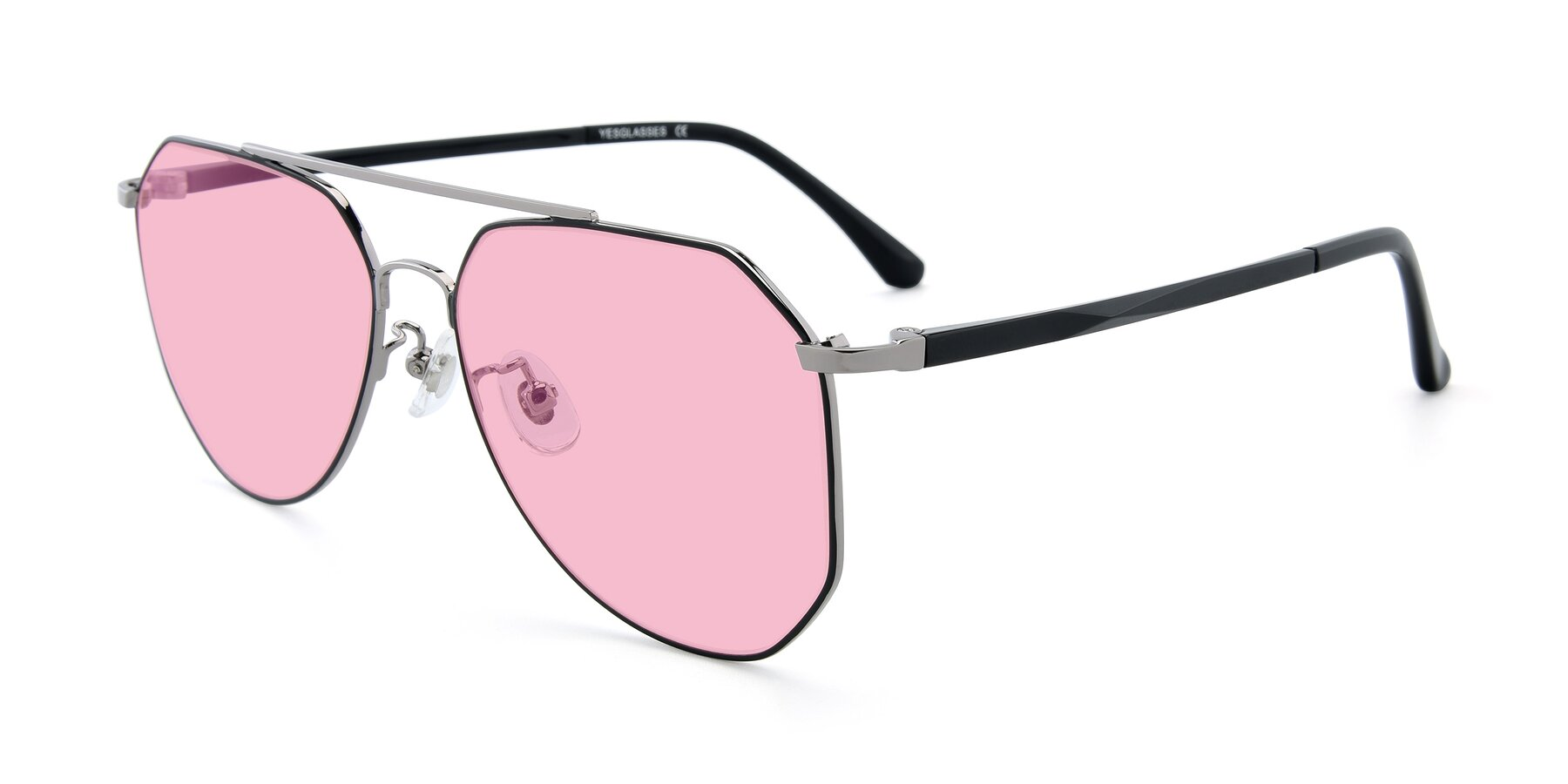 Angle of XC-8040 in Black/ Gun with Medium Pink Tinted Lenses