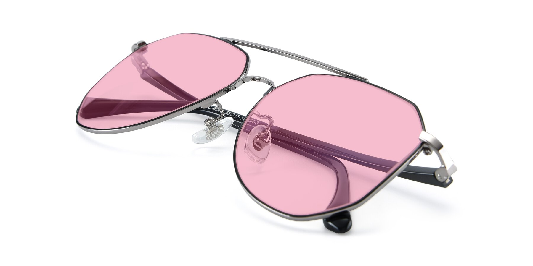 View of XC-8040 in Black/ Gun with Medium Pink Tinted Lenses