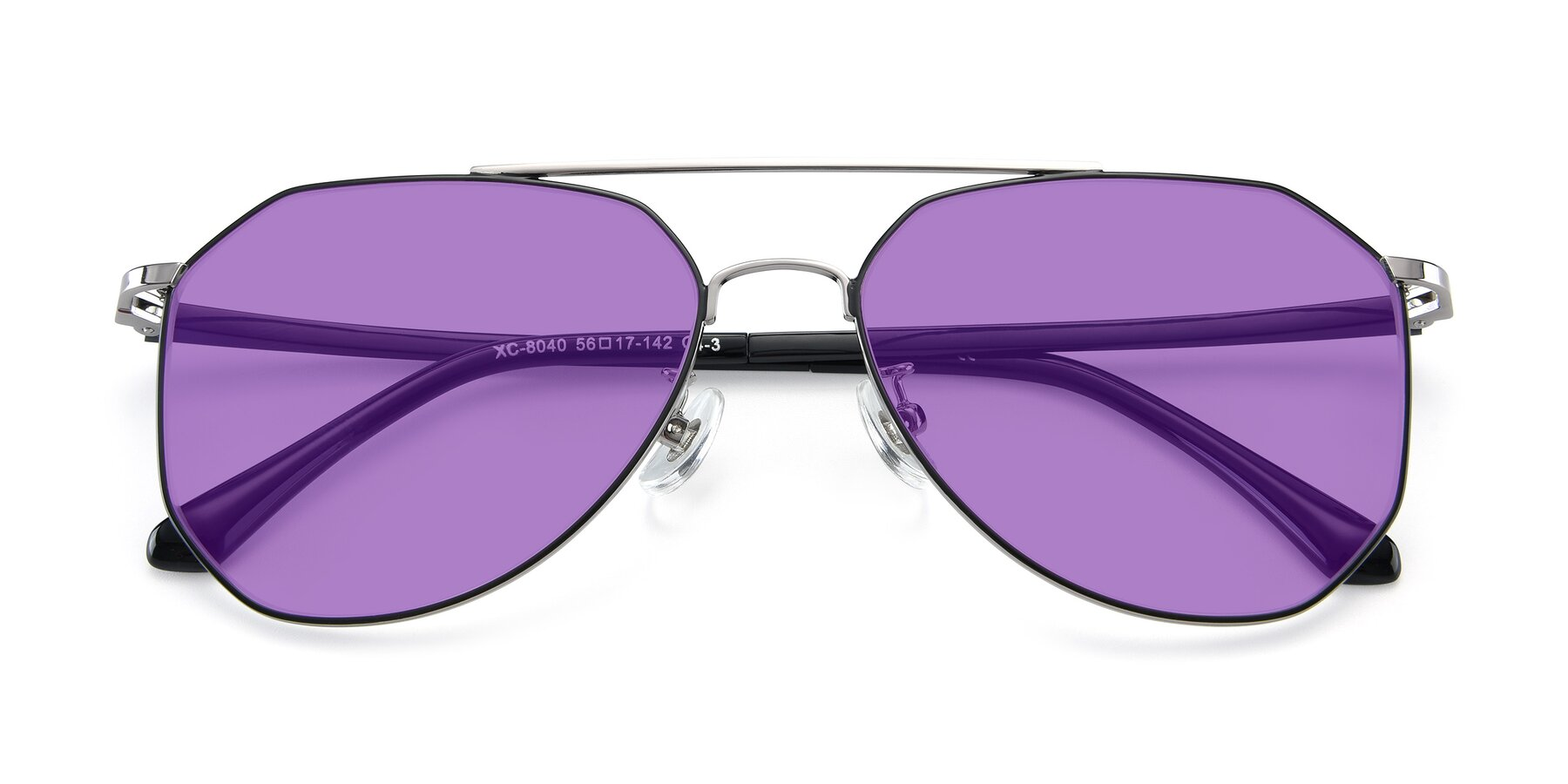 Folded Front of XC-8040 in Black/ Gun with Medium Purple Tinted Lenses