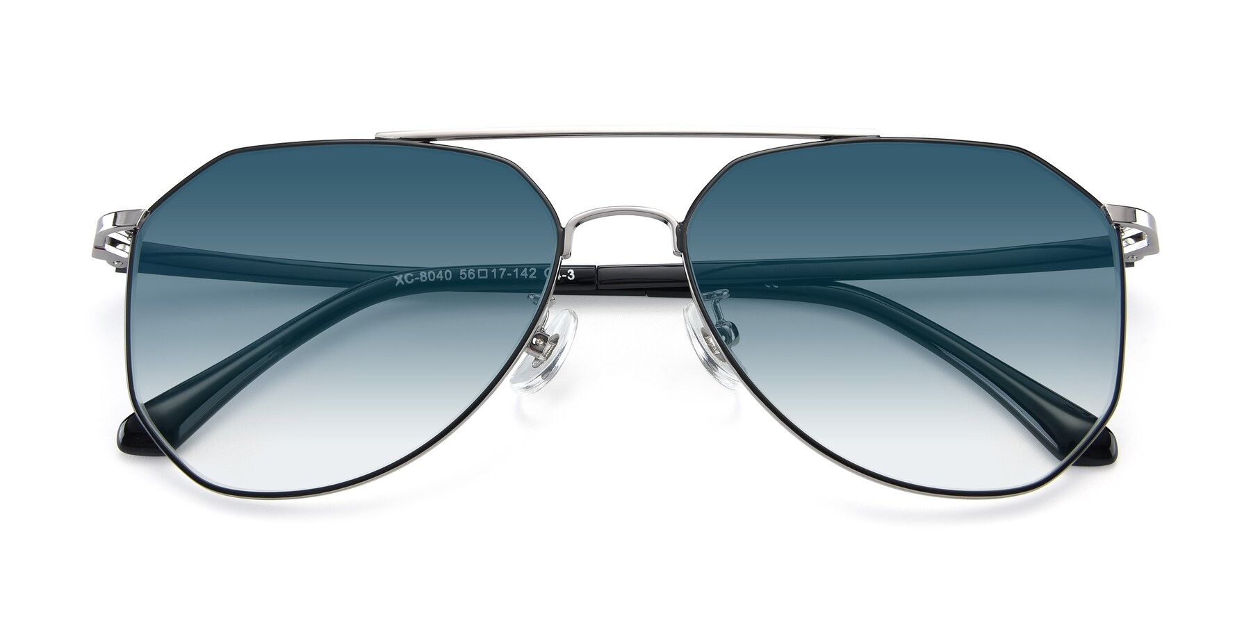 Folded Front of XC-8040 in Black/ Gun with Blue Gradient Lenses