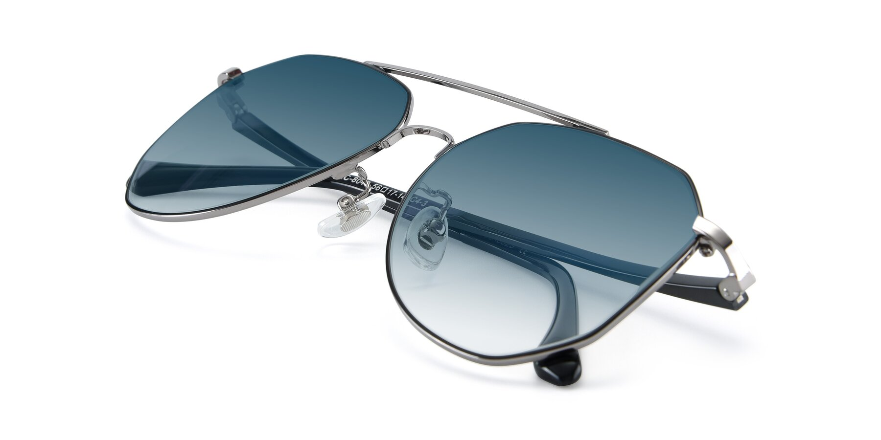 View of XC-8040 in Black/ Gun with Blue Gradient Lenses