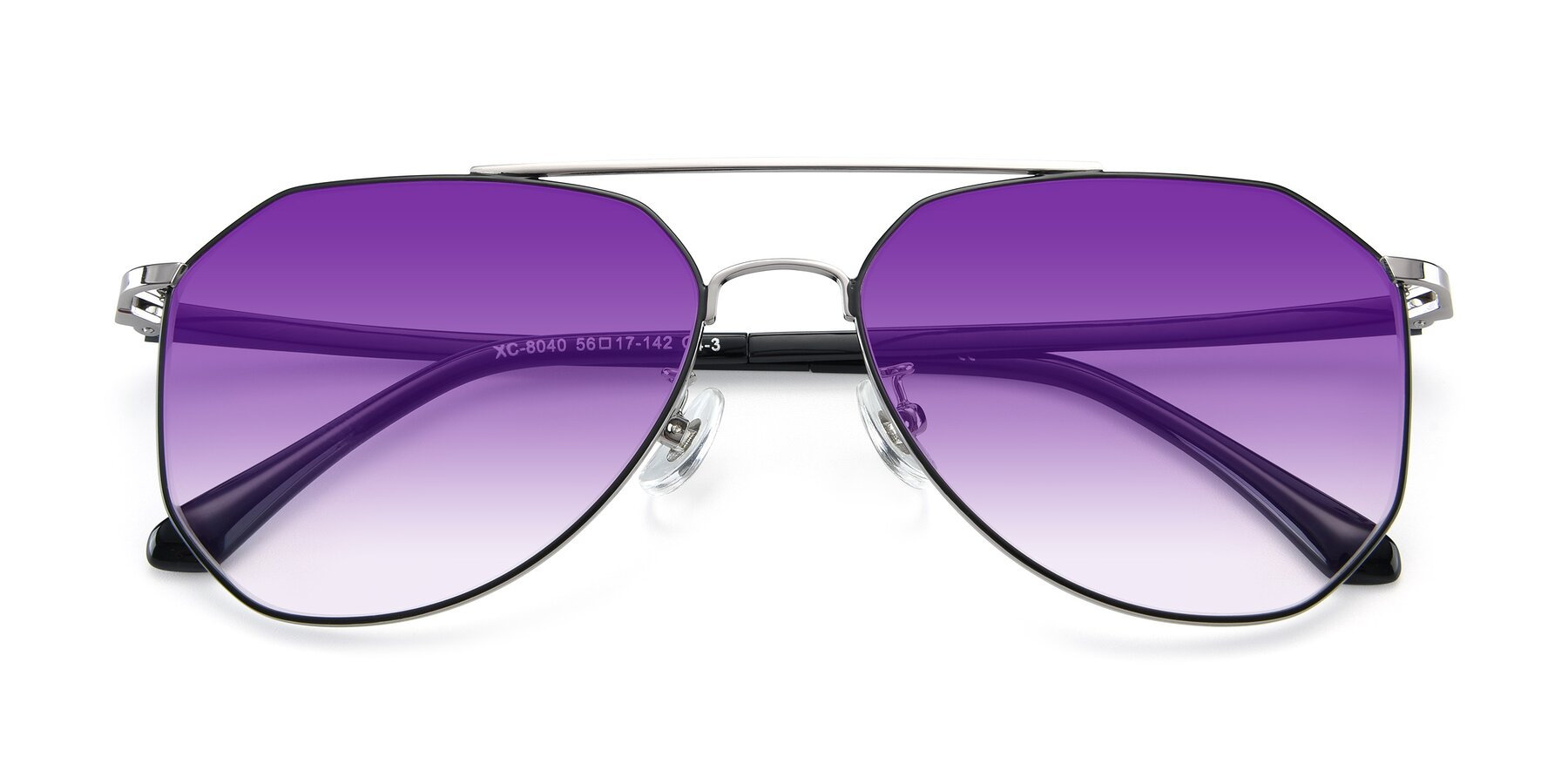 Folded Front of XC-8040 in Black/ Gun with Purple Gradient Lenses