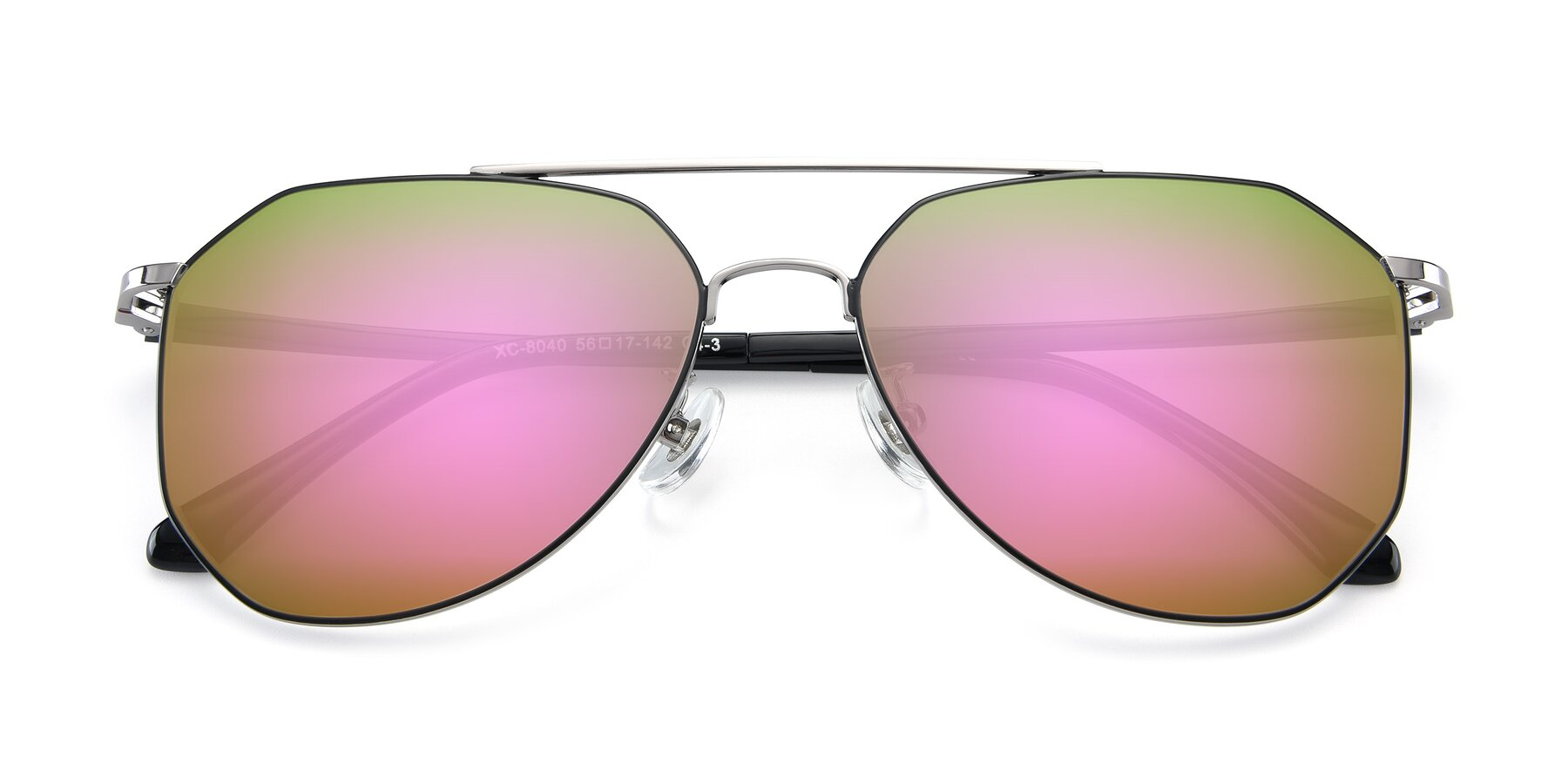 Folded Front of XC-8040 in Black/ Gun with Pink Mirrored Lenses
