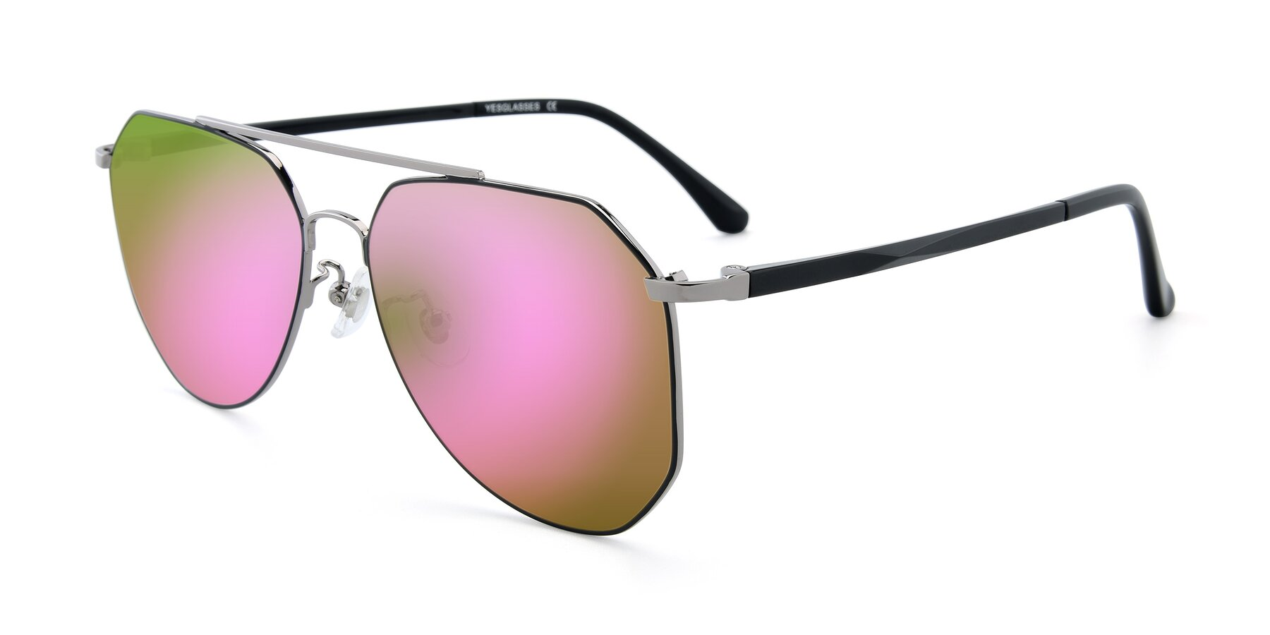 Angle of XC-8040 in Black/ Gun with Pink Mirrored Lenses