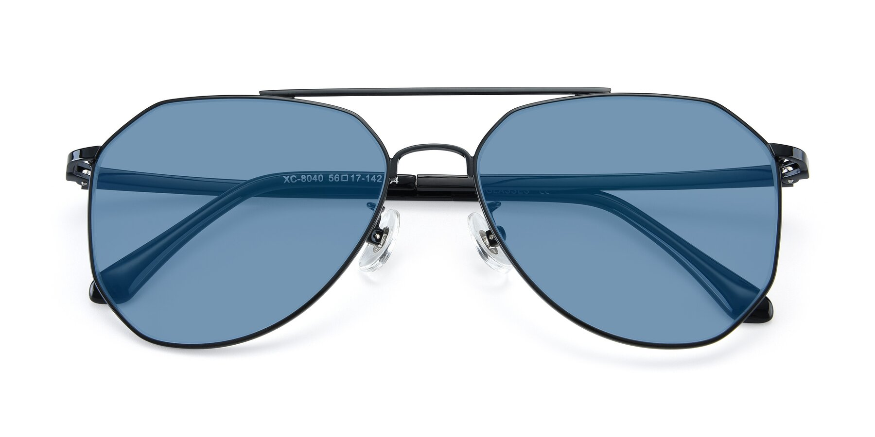 Folded Front of XC-8040 in Black with Medium Blue Tinted Lenses