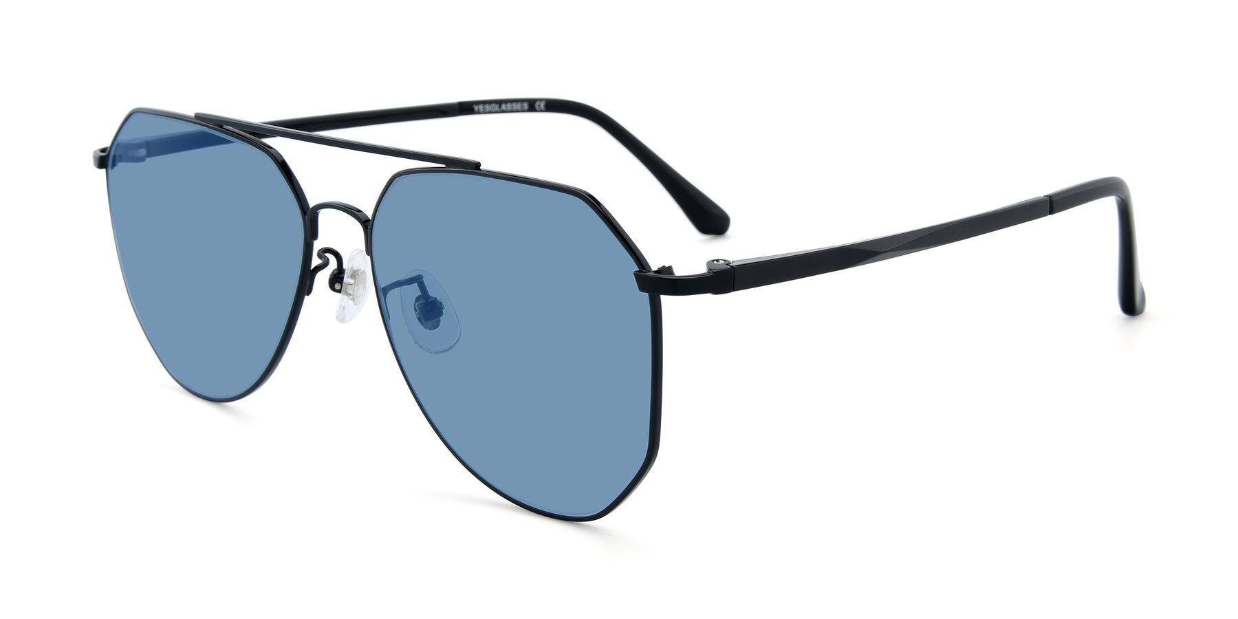 Angle of XC-8040 in Black with Medium Blue Tinted Lenses