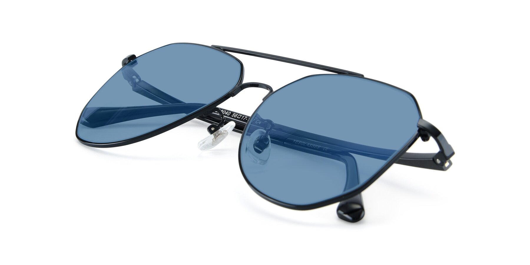 View of XC-8040 in Black with Medium Blue Tinted Lenses