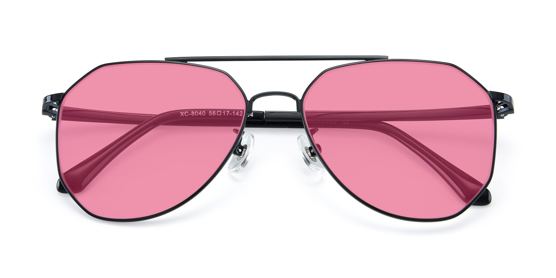 Folded Front of XC-8040 in Black with Pink Tinted Lenses