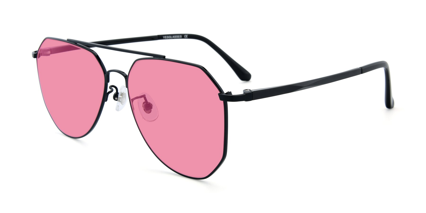 Angle of XC-8040 in Black with Pink Tinted Lenses