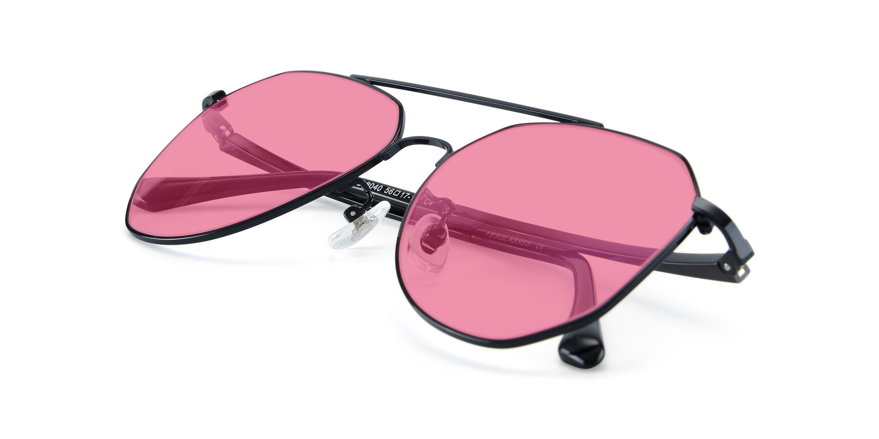 View of XC-8040 in Black with Pink Tinted Lenses