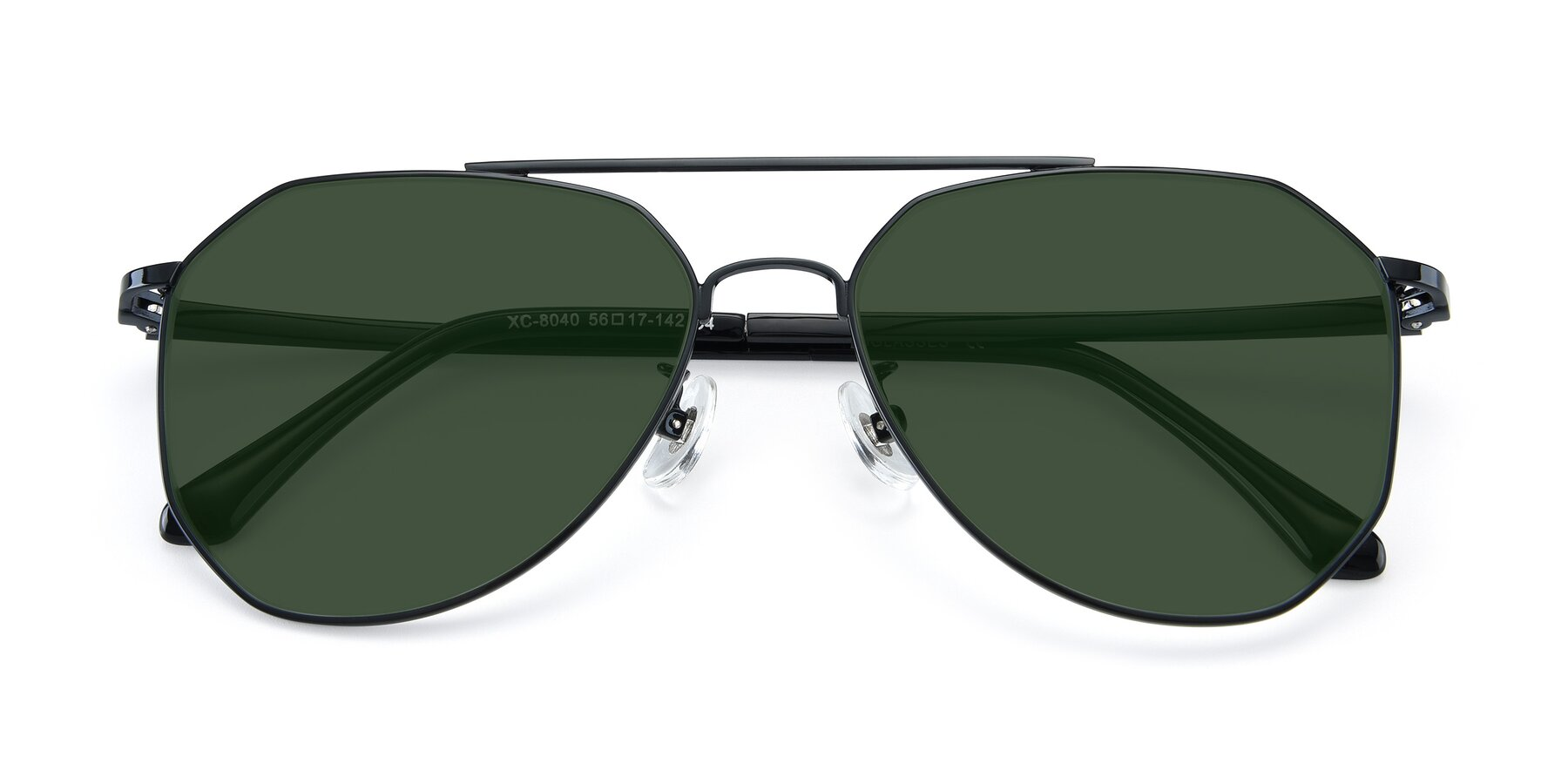 Folded Front of XC-8040 in Black with Green Tinted Lenses
