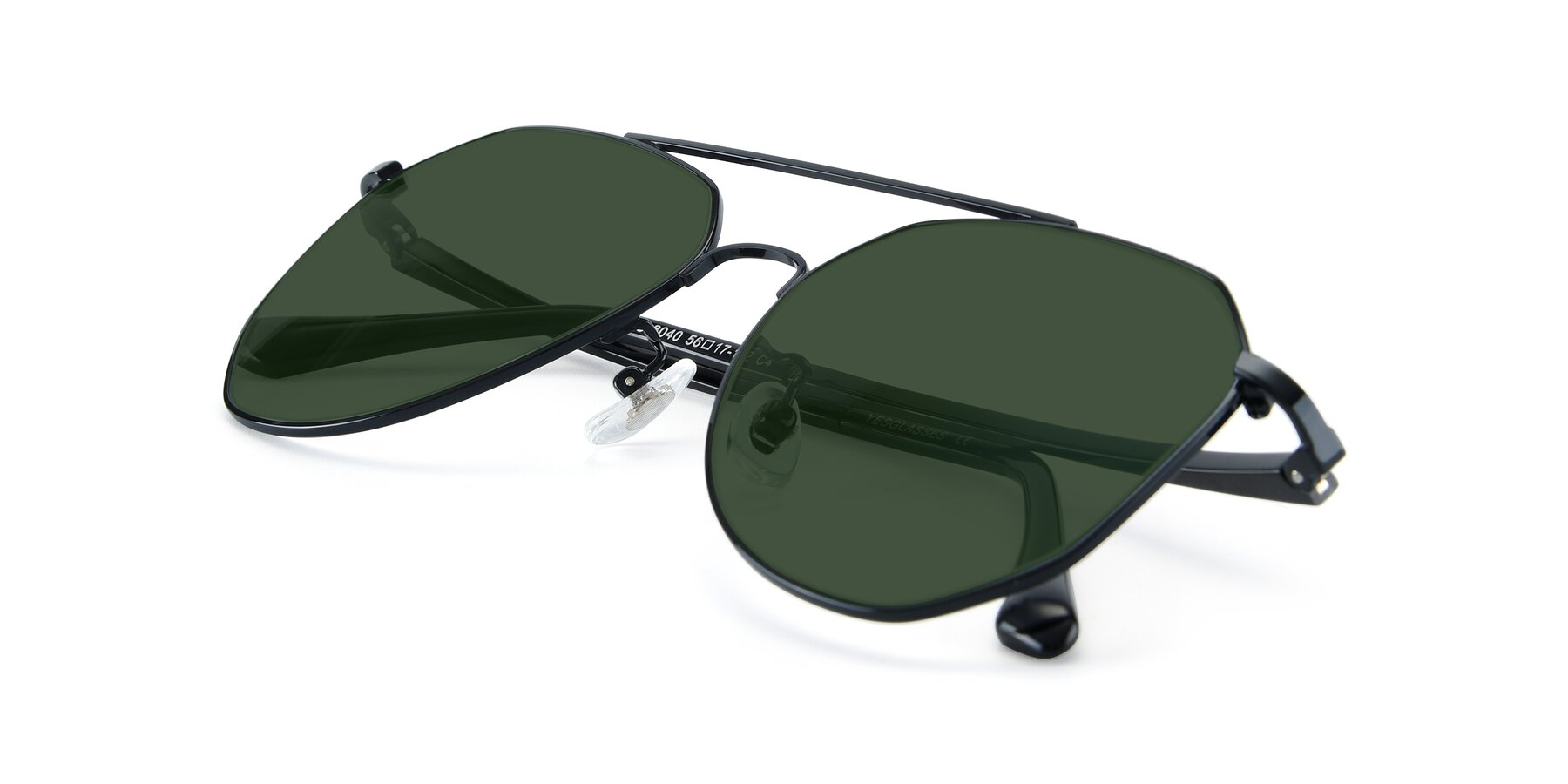View of XC-8040 in Black with Green Tinted Lenses