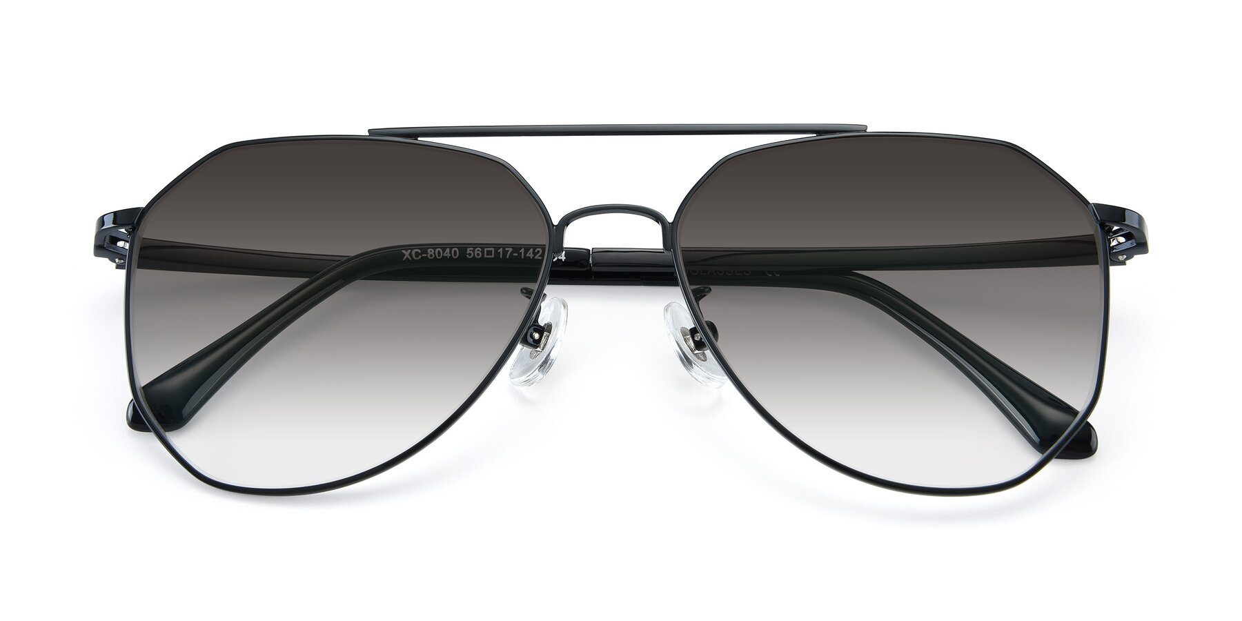 Folded Front of XC-8040 in Black with Gray Gradient Lenses