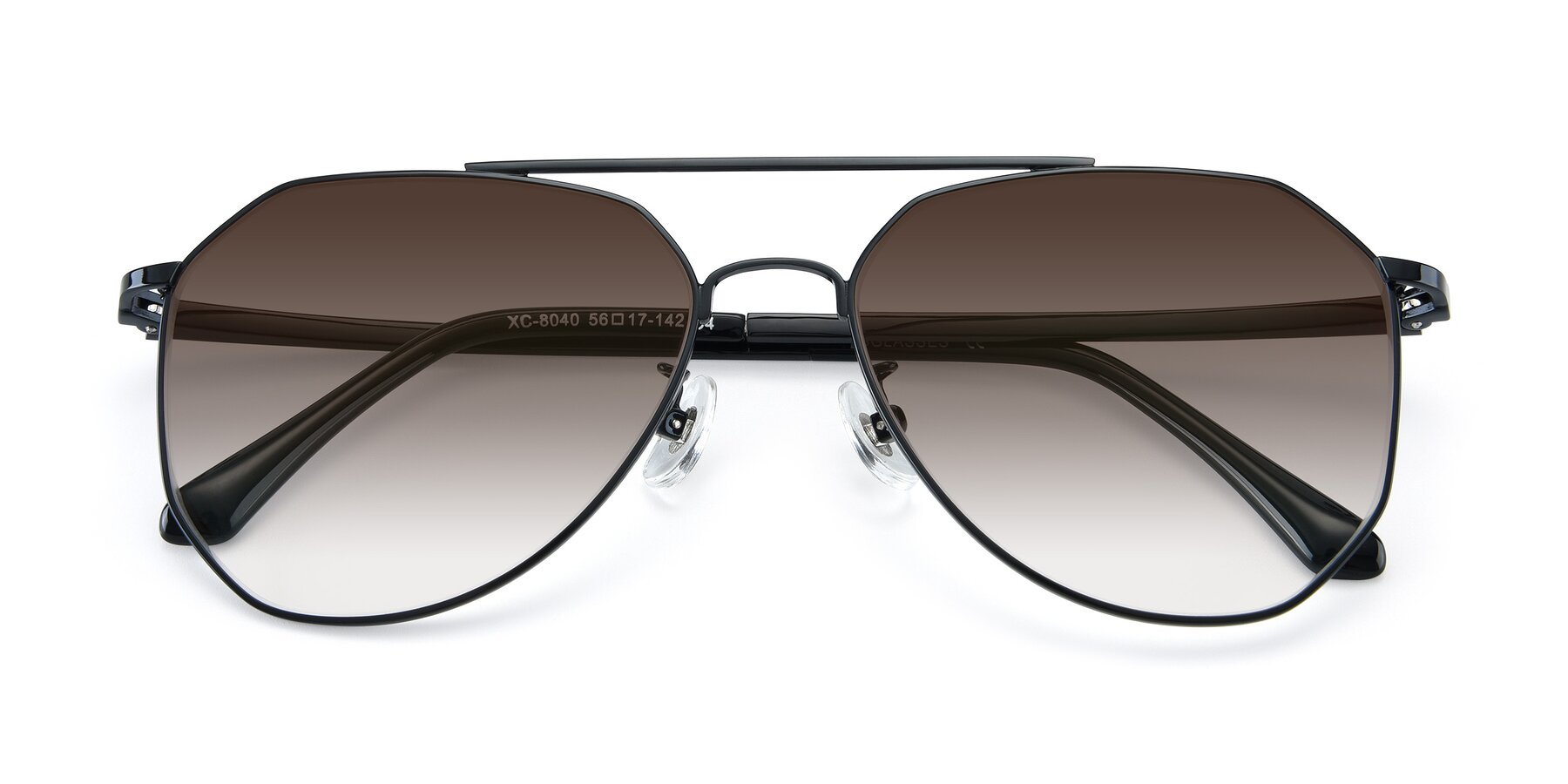 Folded Front of XC-8040 in Black with Brown Gradient Lenses