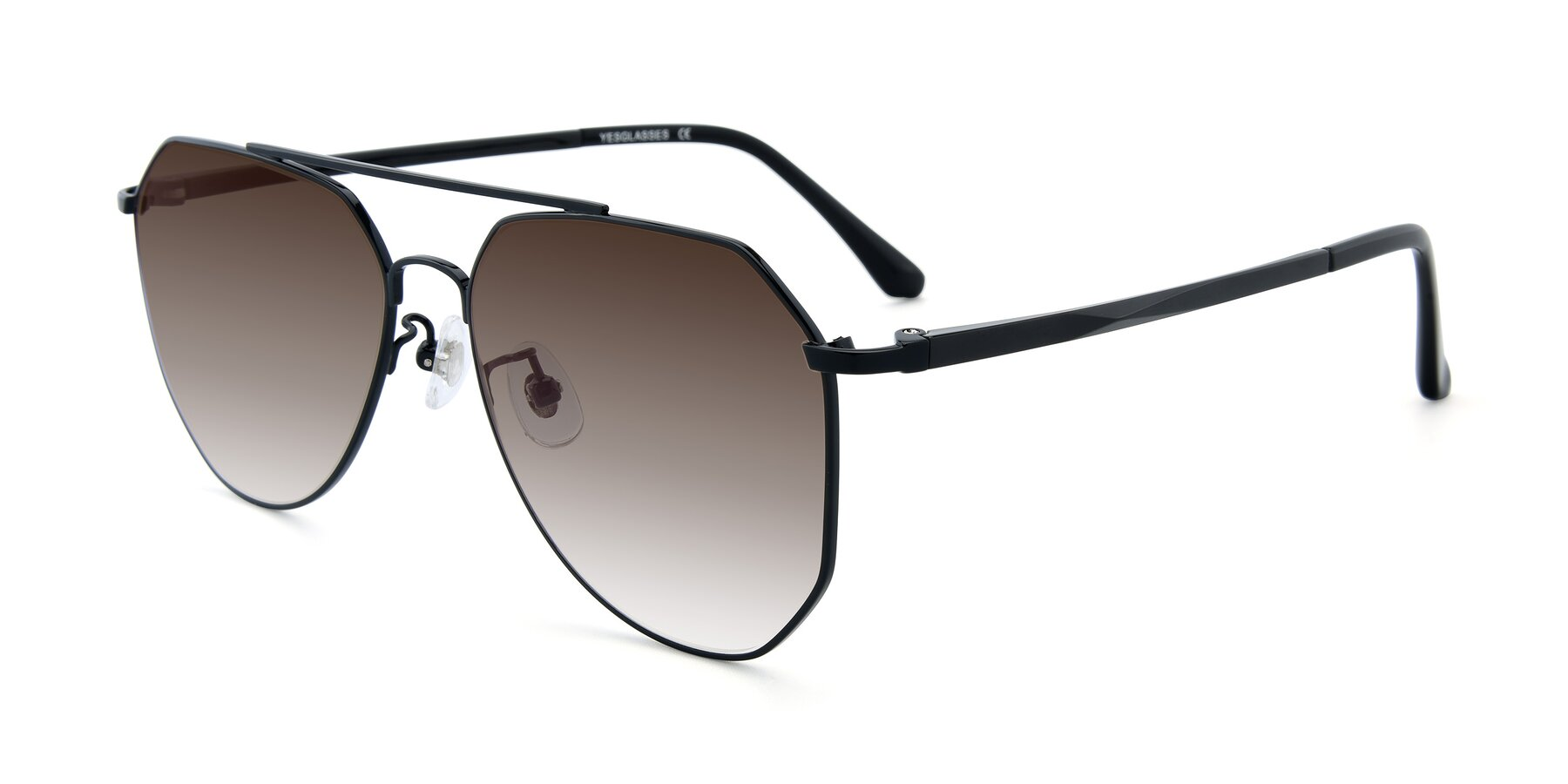 Angle of XC-8040 in Black with Brown Gradient Lenses