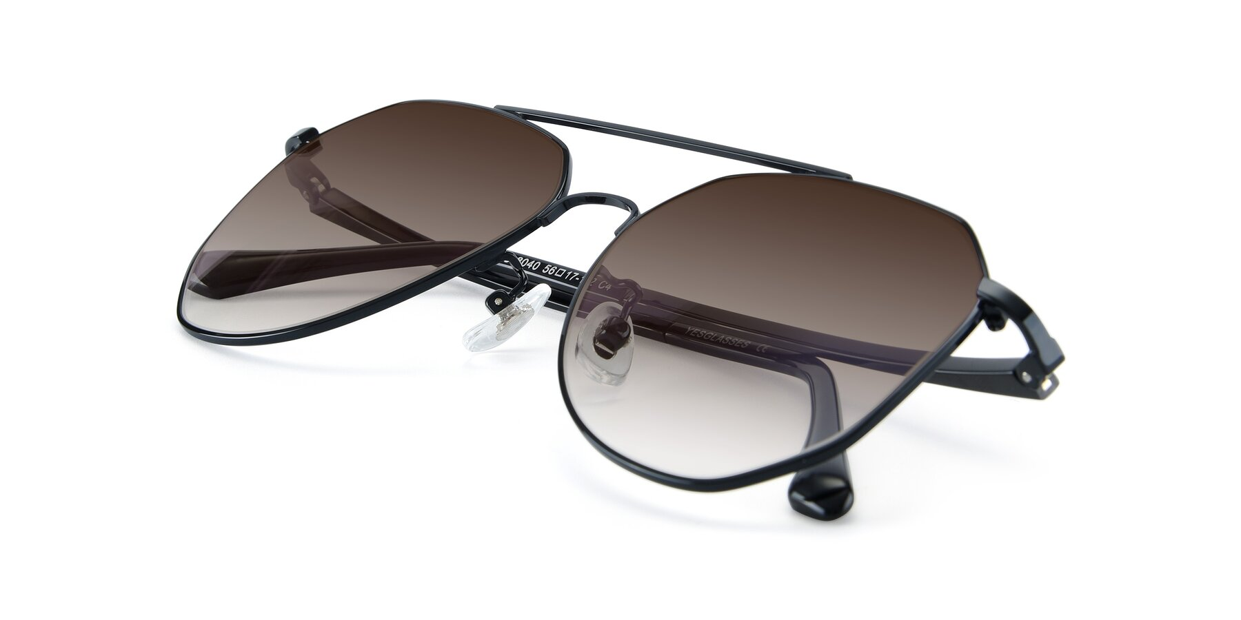 View of XC-8040 in Black with Brown Gradient Lenses