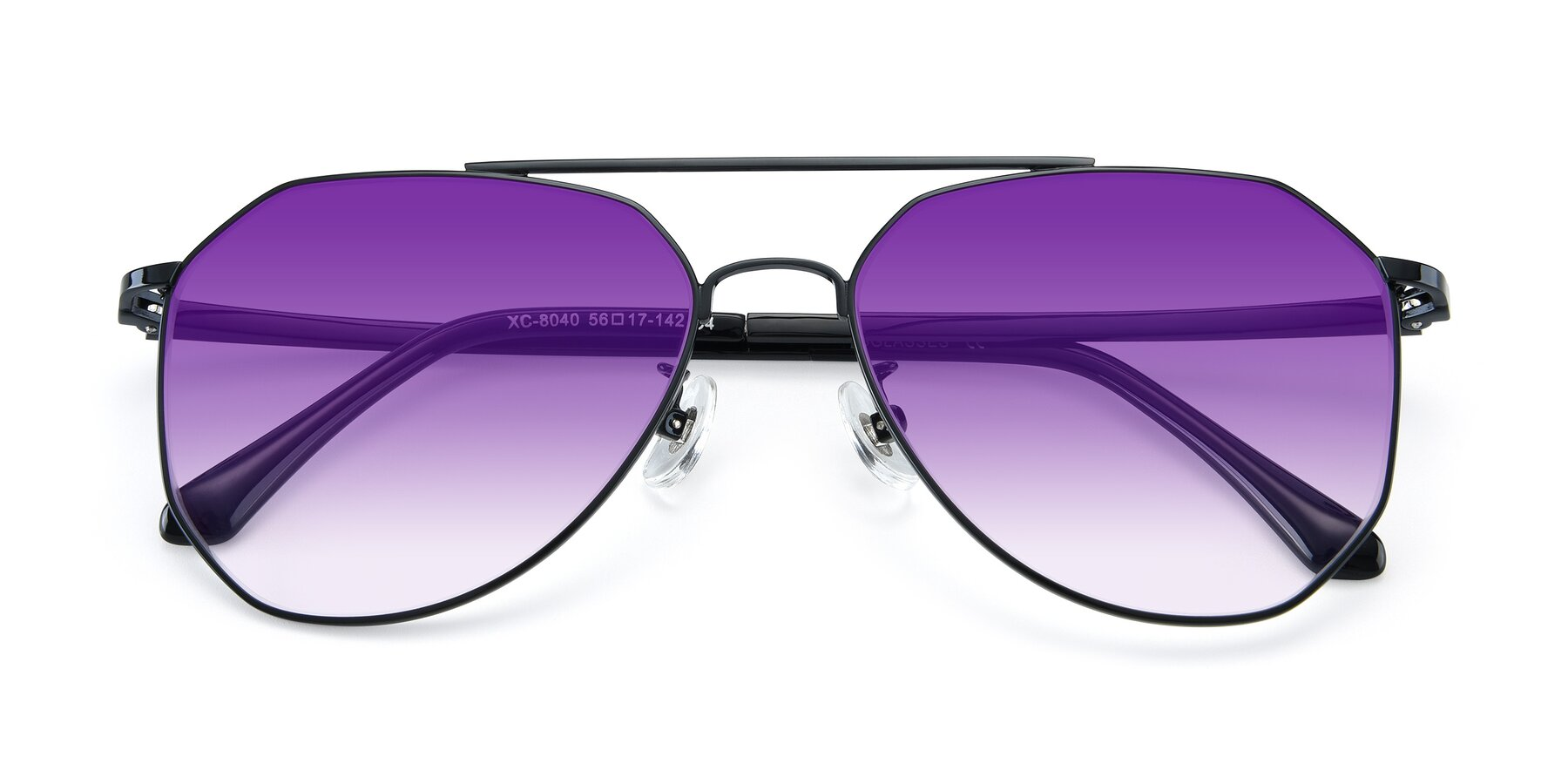 Folded Front of XC-8040 in Black with Purple Gradient Lenses