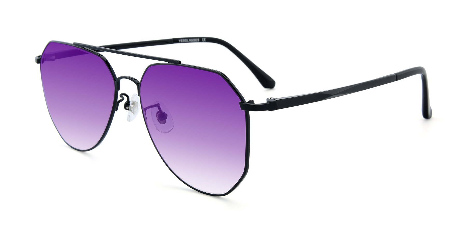 Angle of XC-8040 in Black with Purple Gradient Lenses