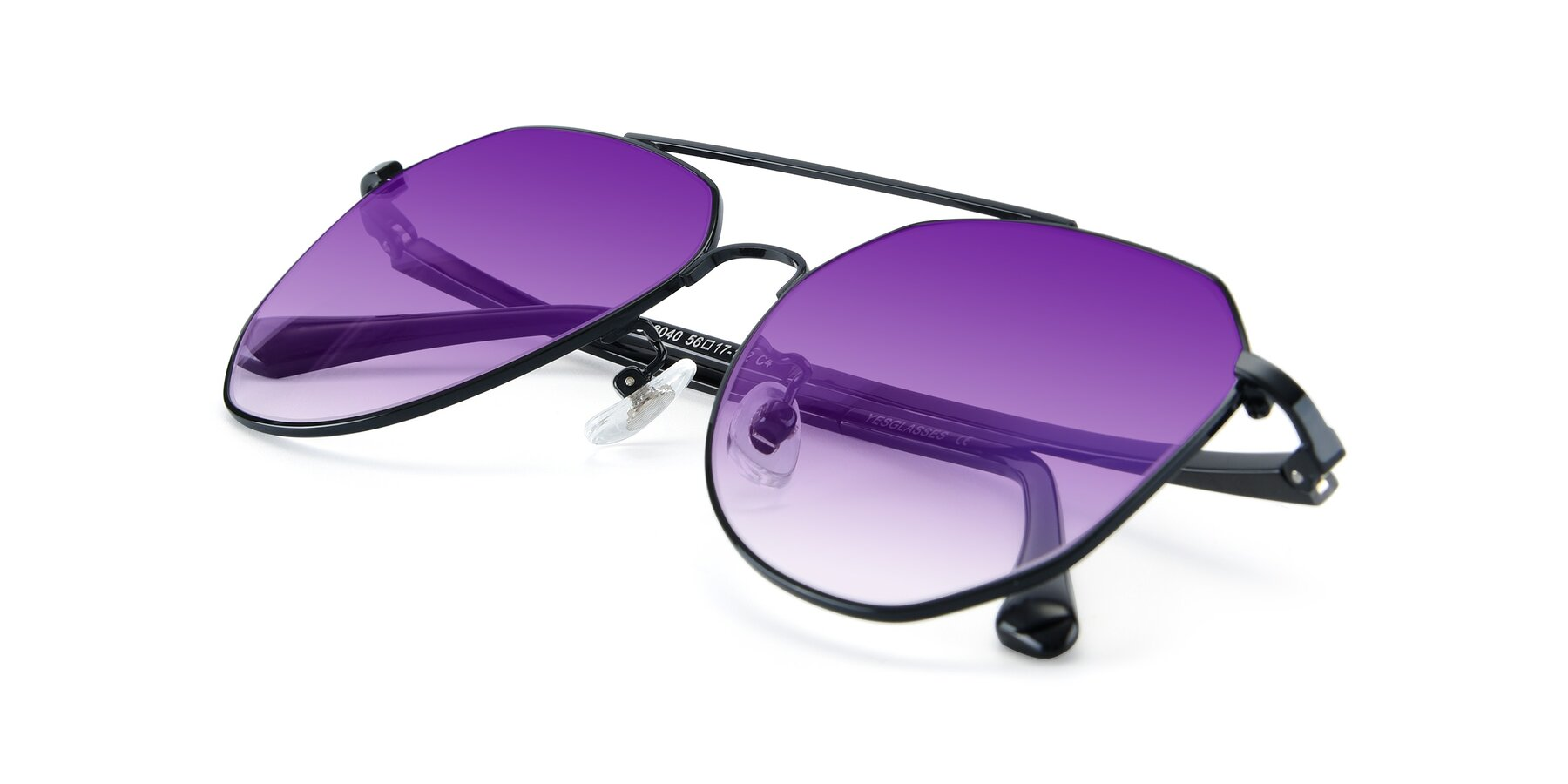 View of XC-8040 in Black with Purple Gradient Lenses