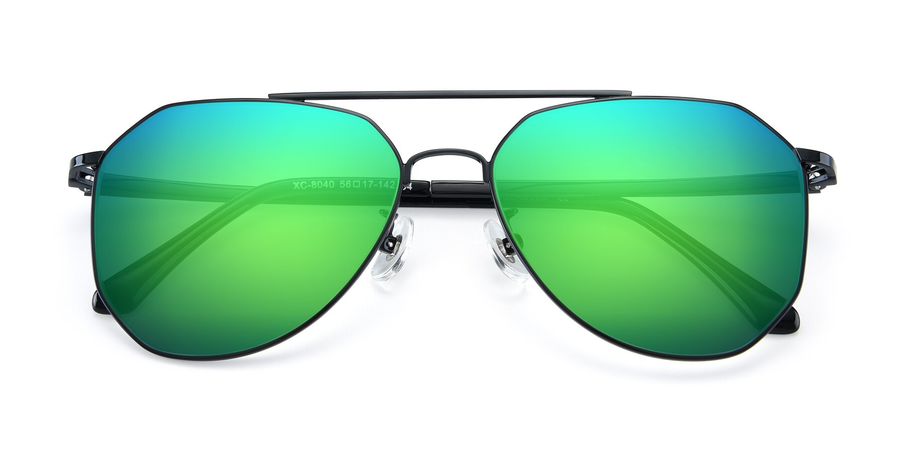 Folded Front of XC-8040 in Black with Green Mirrored Lenses