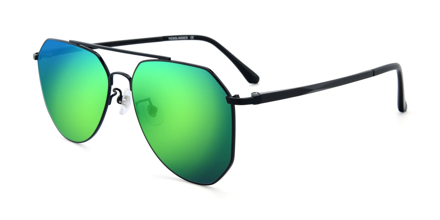 Angle of XC-8040 in Black with Green Mirrored Lenses