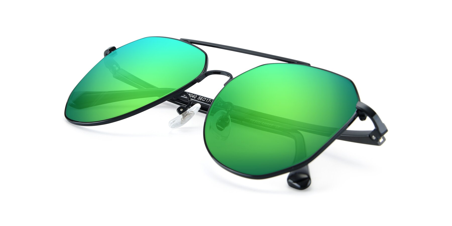View of XC-8040 in Black with Green Mirrored Lenses