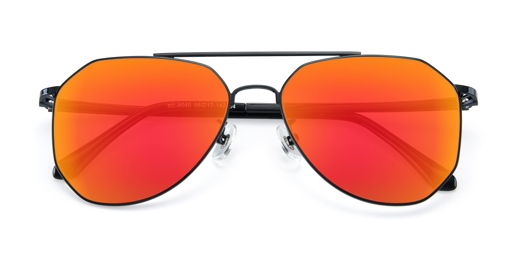 Folded Front of XC-8040 in Black with Red Gold Mirrored Lenses