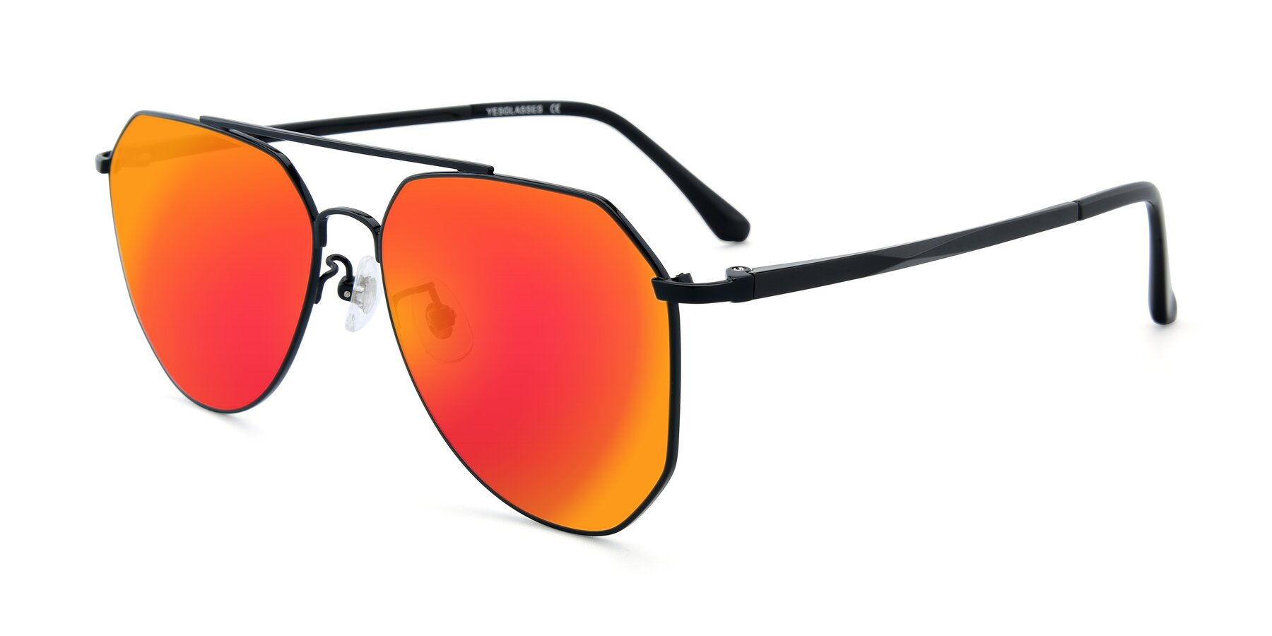Angle of XC-8040 in Black with Red Gold Mirrored Lenses