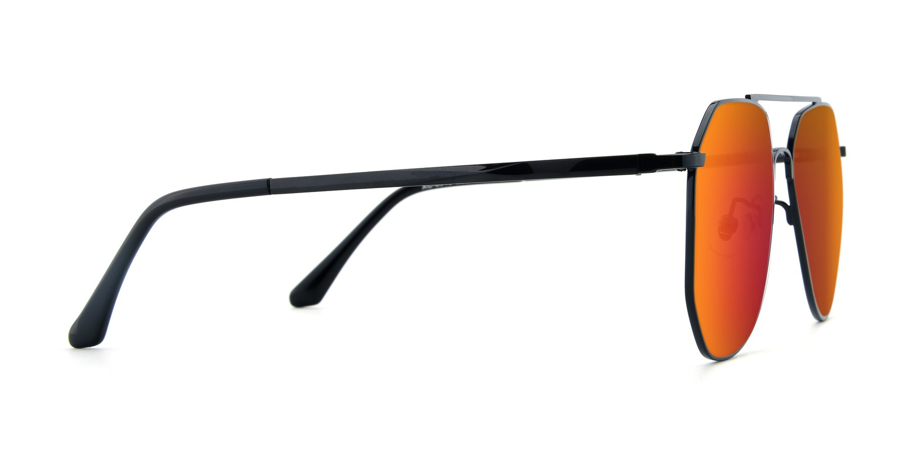 Side of XC-8040 in Black with Red Gold Mirrored Lenses