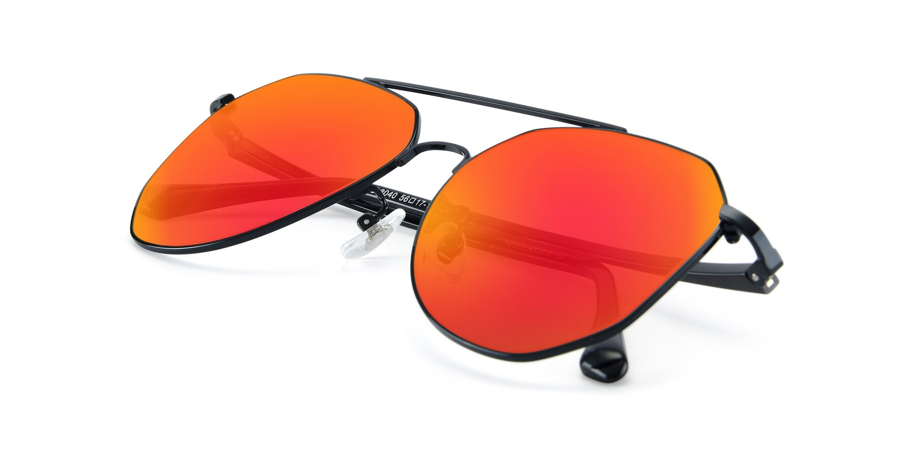 View of XC-8040 in Black with Red Gold Mirrored Lenses