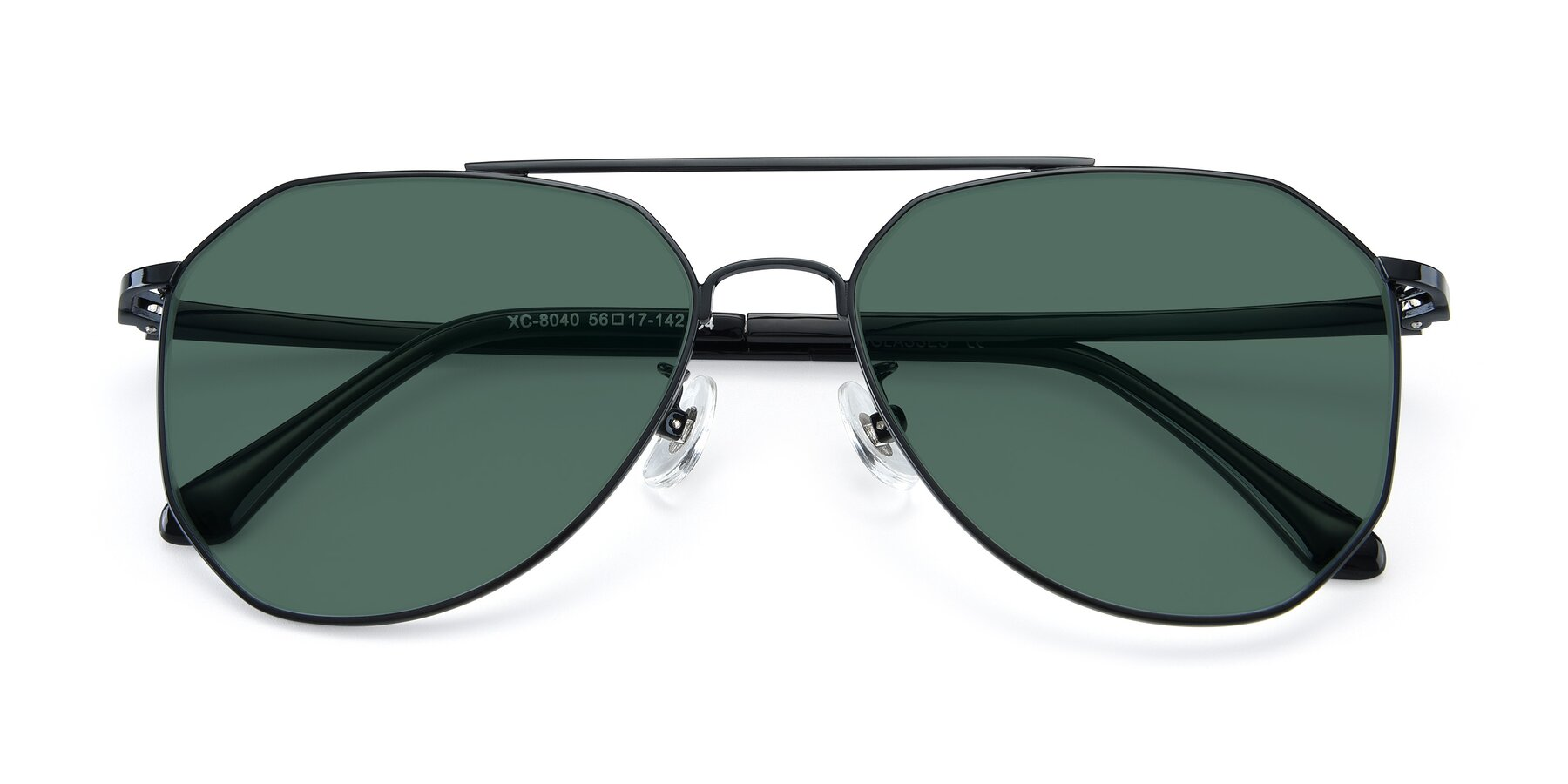 Folded Front of XC-8040 in Black with Green Polarized Lenses