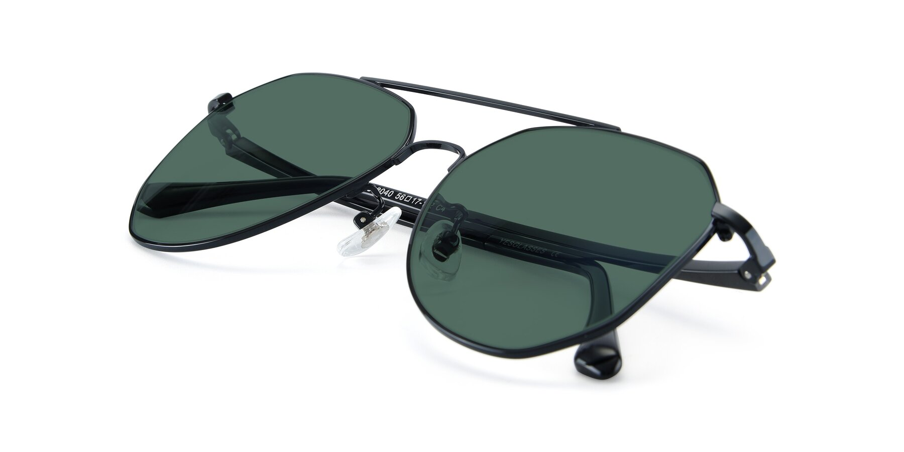 View of XC-8040 in Black with Green Polarized Lenses