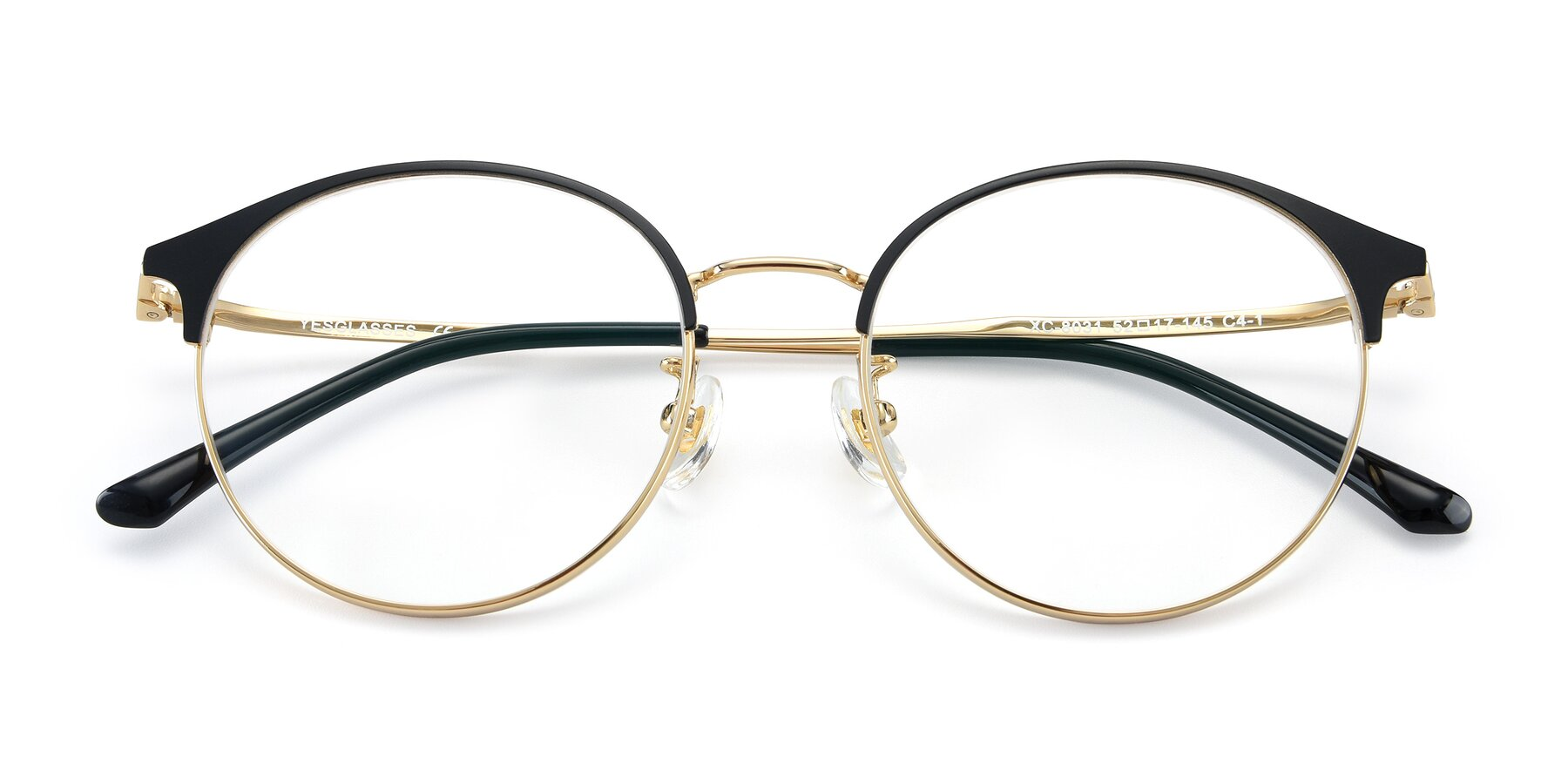 Folded Front of XC-8031 in Black-Gold with Clear Eyeglass Lenses