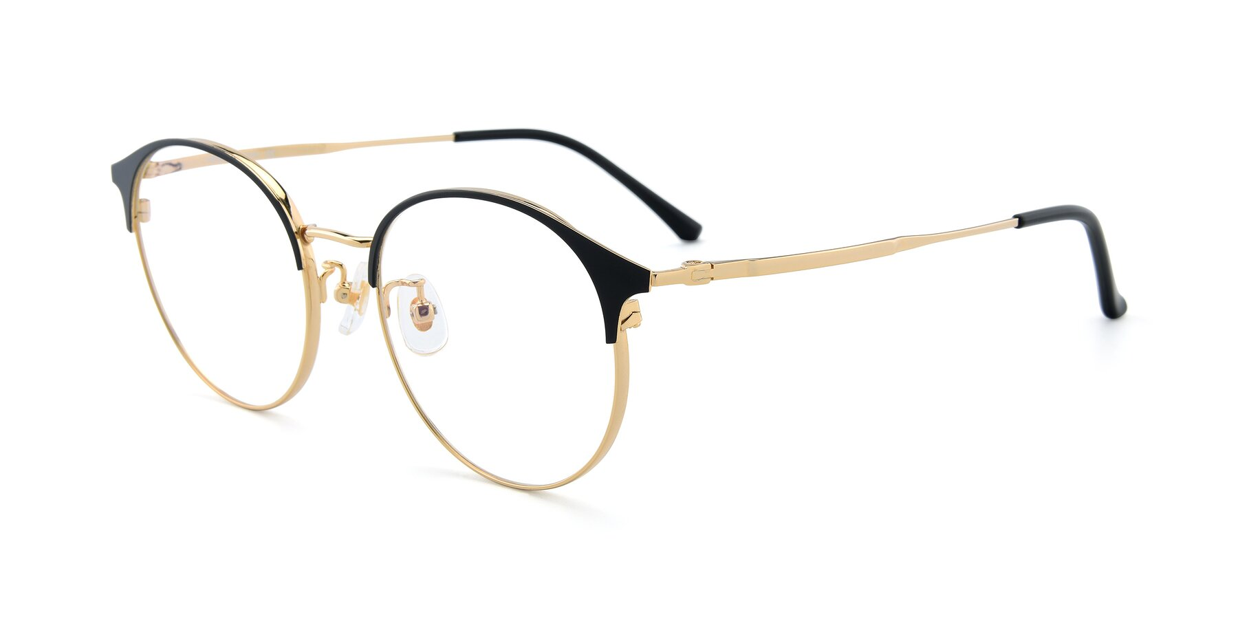 Angle of XC-8031 in Black-Gold with Clear Eyeglass Lenses