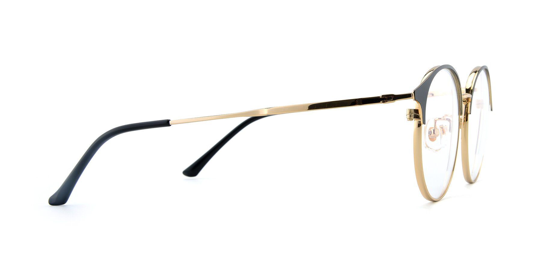 Side of XC-8031 in Black-Gold with Clear Eyeglass Lenses