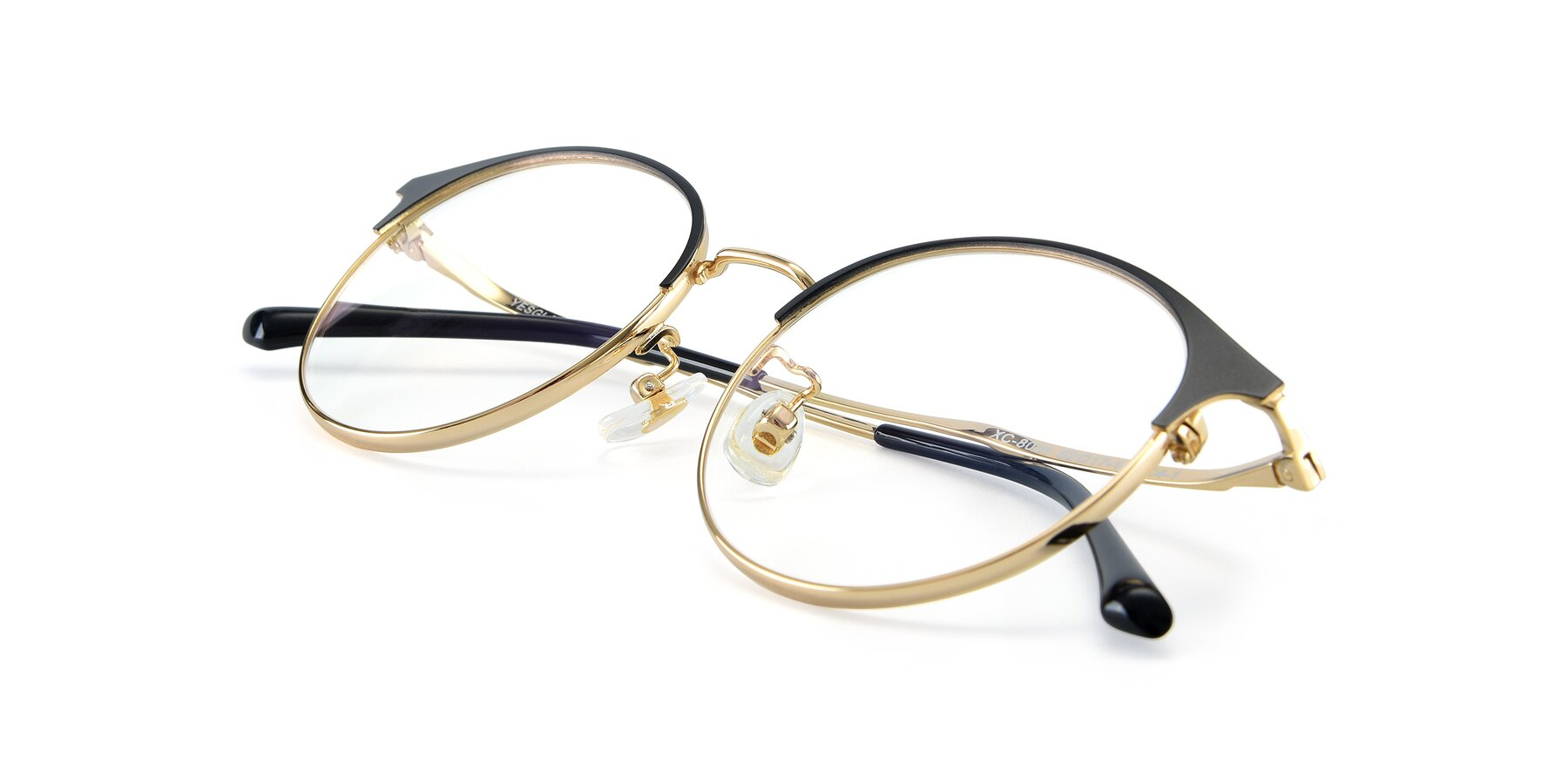 View of XC-8031 in Black-Gold with Clear Eyeglass Lenses