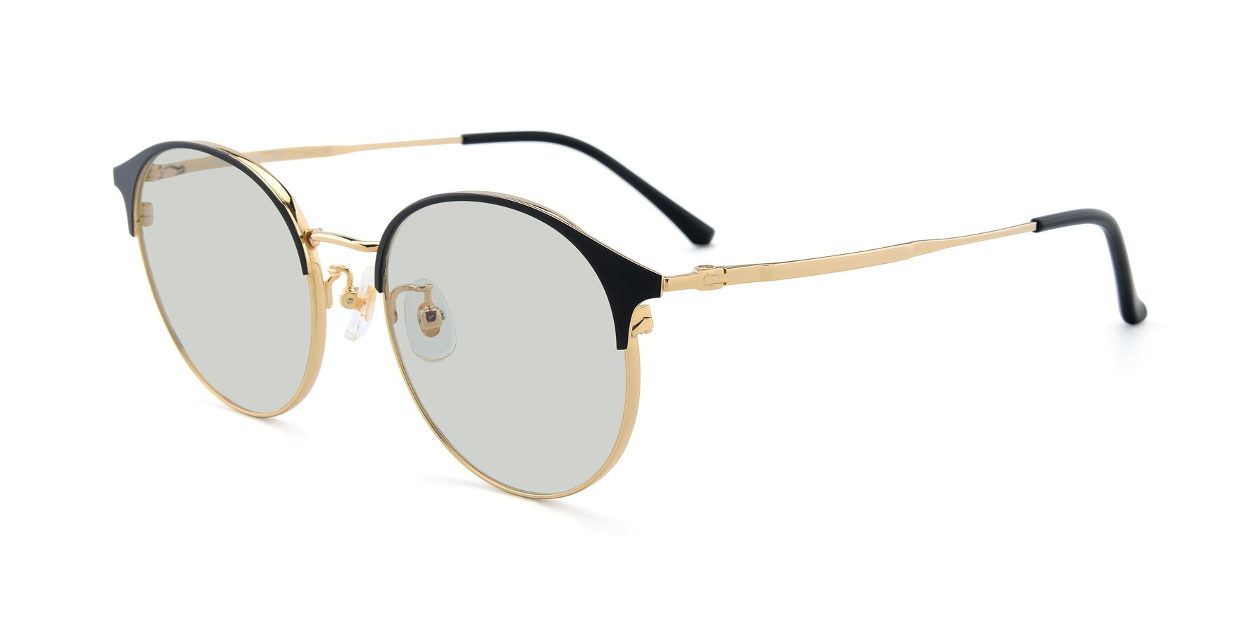 Angle of XC-8031 in Black-Gold with Light Green Tinted Lenses