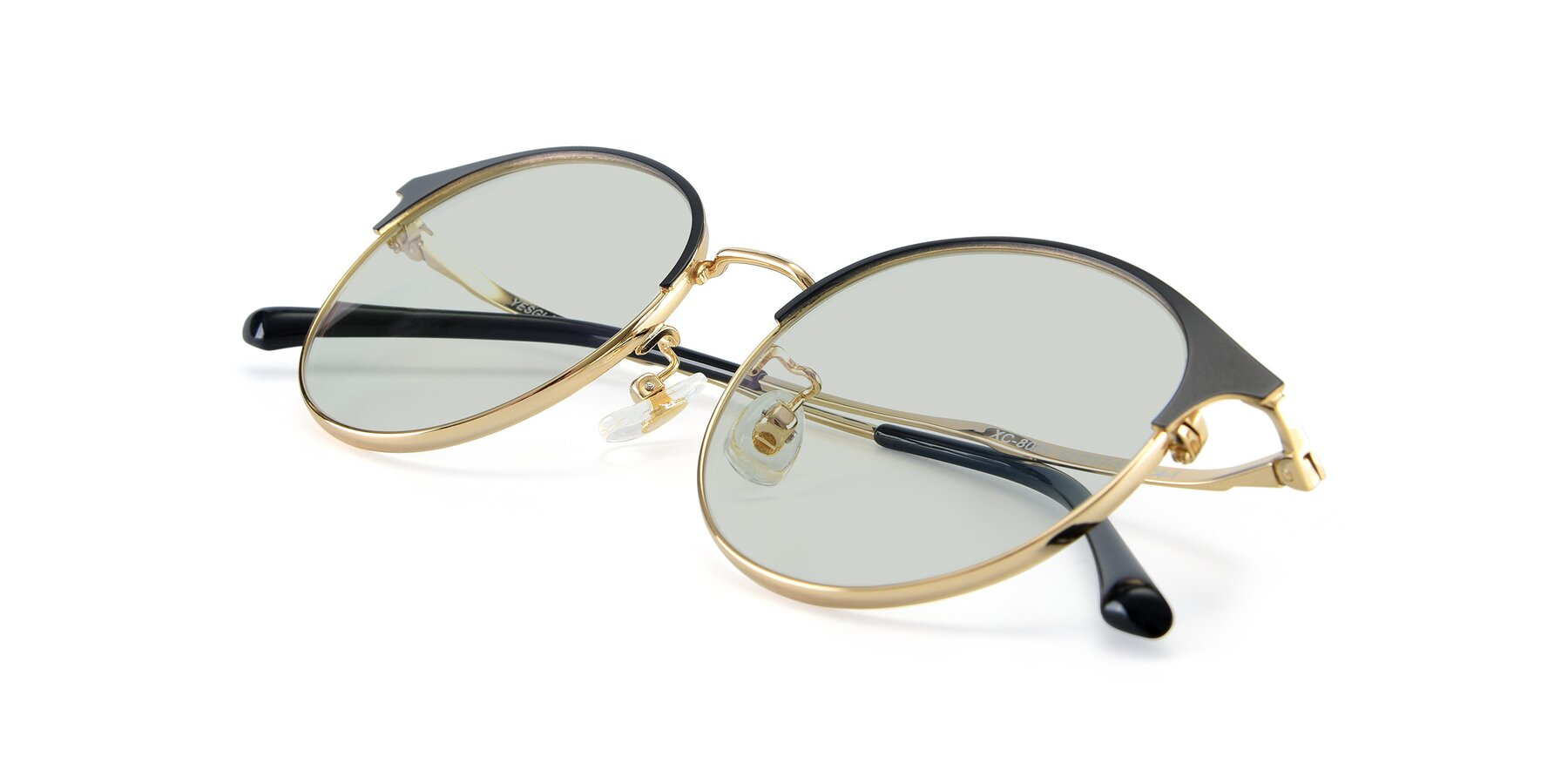 View of XC-8031 in Black-Gold with Light Green Tinted Lenses