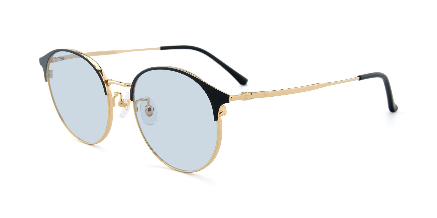 Angle of XC-8031 in Black-Gold with Light Blue Tinted Lenses