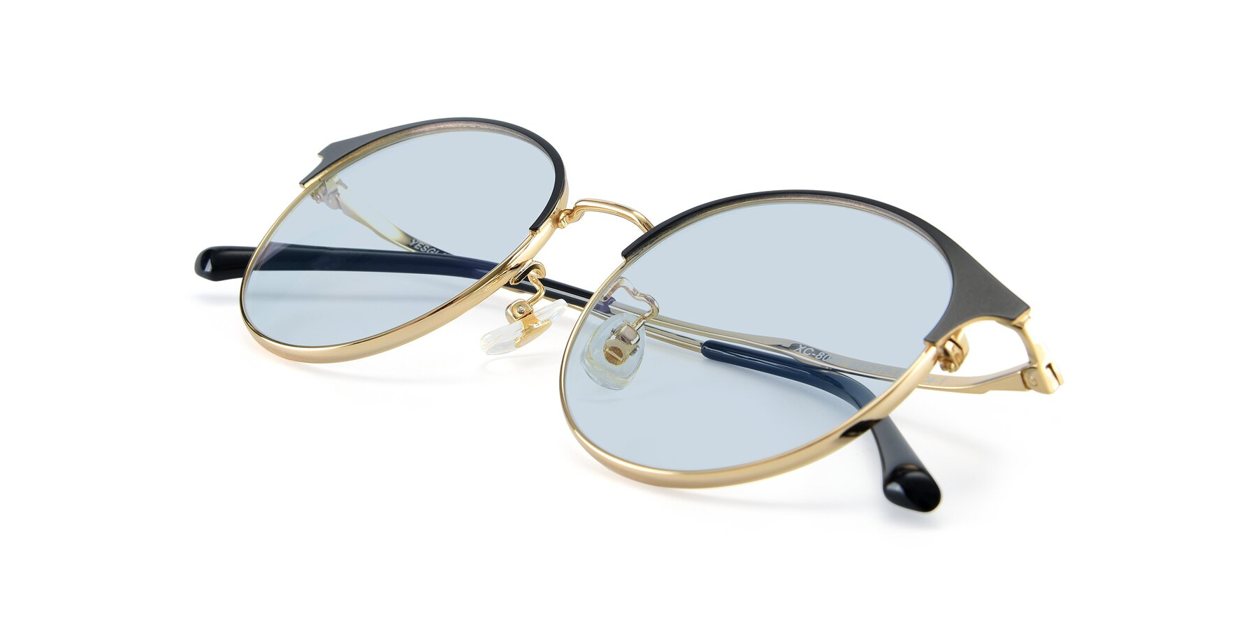 View of XC-8031 in Black-Gold with Light Blue Tinted Lenses