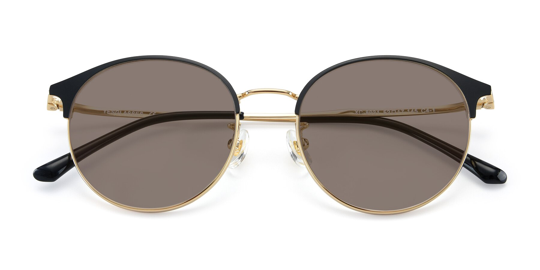 Folded Front of XC-8031 in Black-Gold with Medium Brown Tinted Lenses