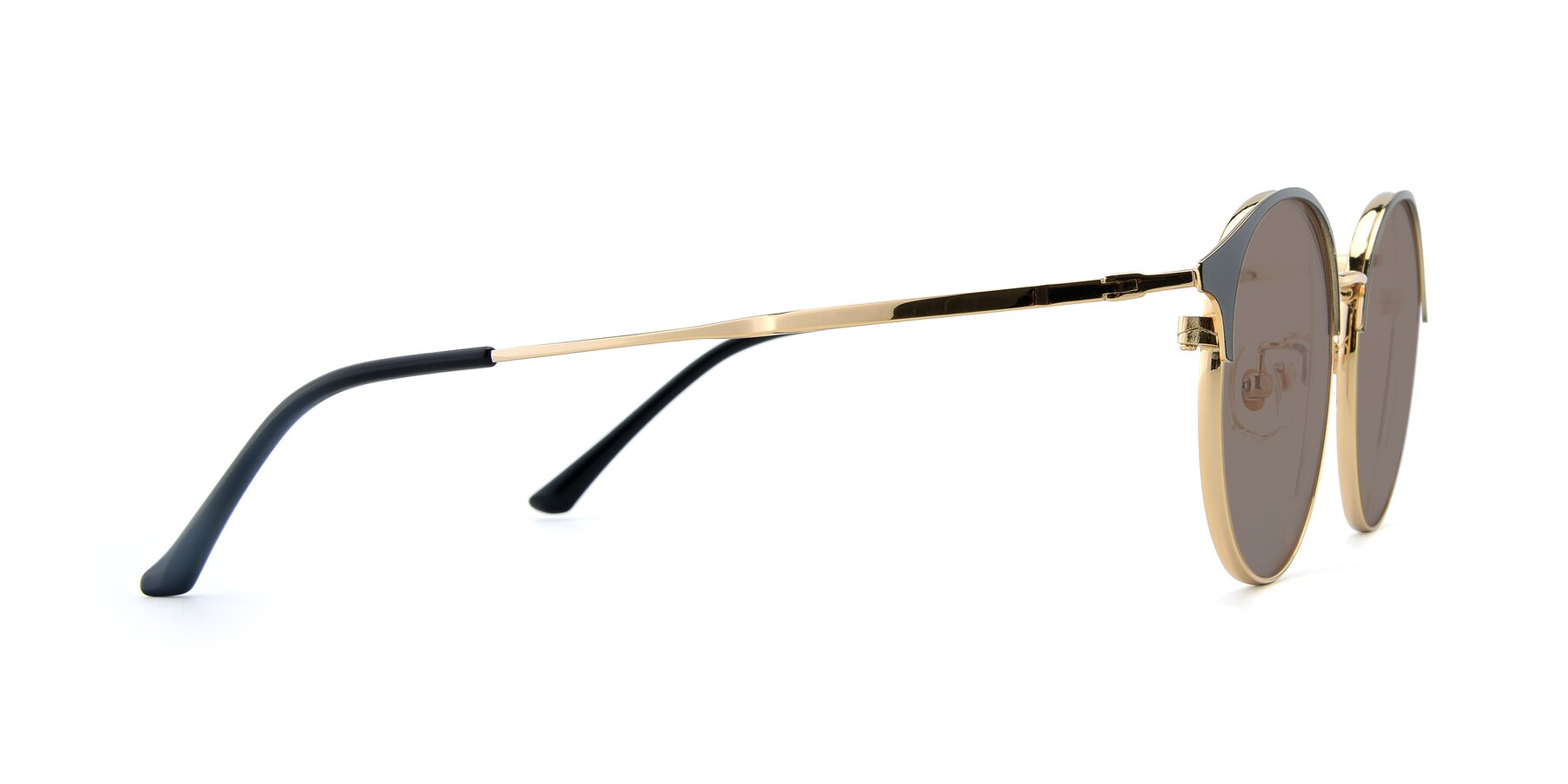 Side of XC-8031 in Black-Gold with Medium Brown Tinted Lenses
