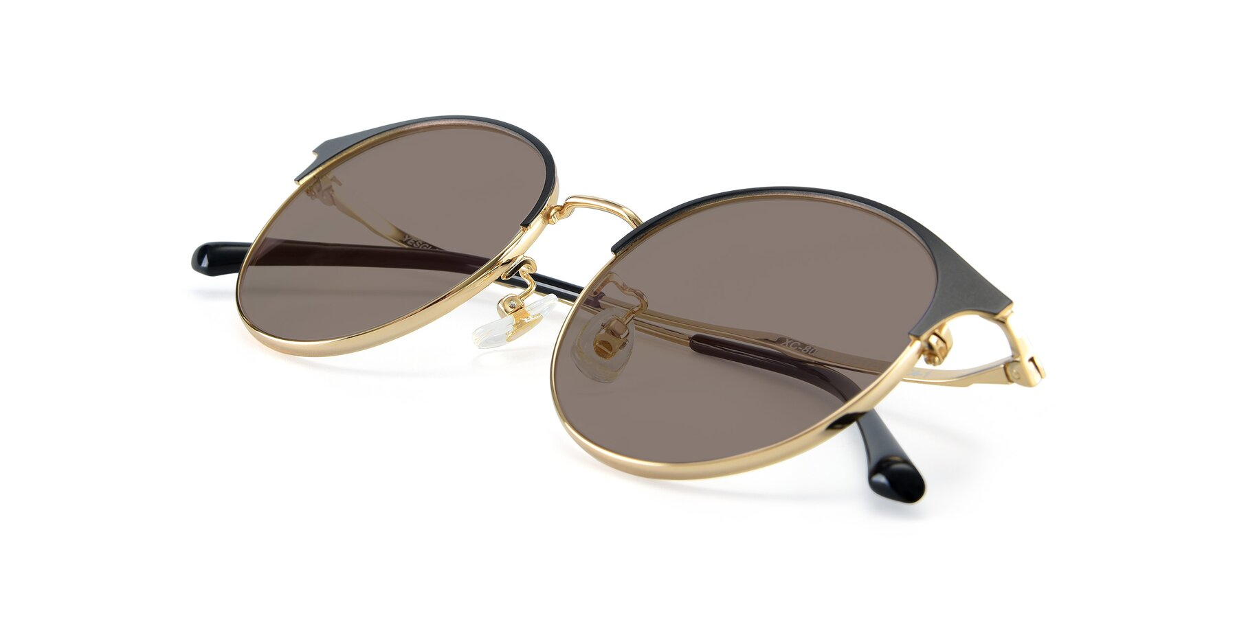 View of XC-8031 in Black-Gold with Medium Brown Tinted Lenses
