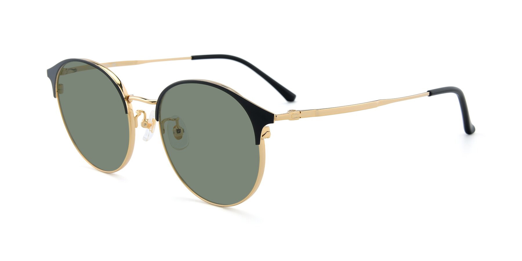 Angle of XC-8031 in Black-Gold with Medium Green Tinted Lenses