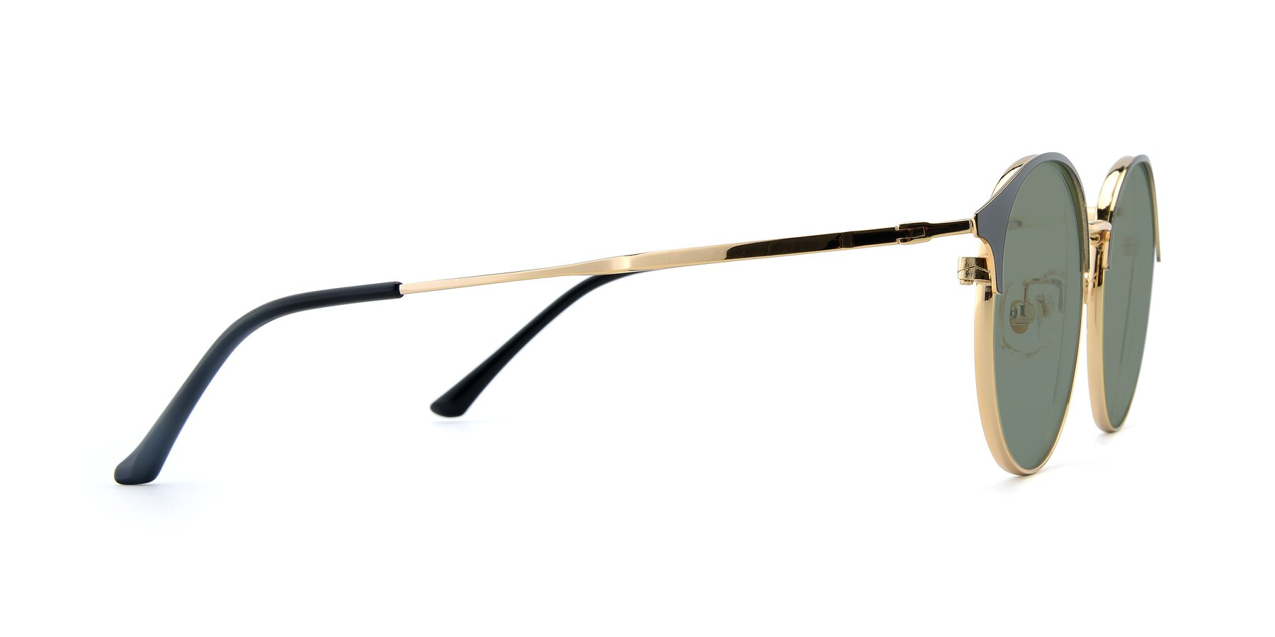 Side of XC-8031 in Black-Gold with Medium Green Tinted Lenses